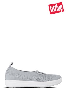 FitFlop™ White Uberknit™ Slip-On Ballerinas With Bow
