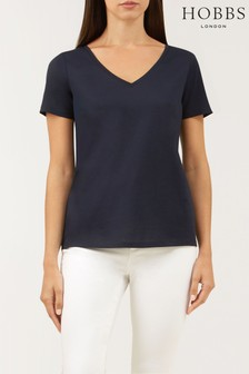 Hobbs Blue Charlotte V-Neck T-Shirt