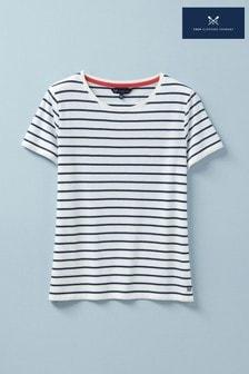 Crew Clothing Company White Breton T-Shirt