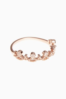 Rose Gold Plated Pretty Crown Ring