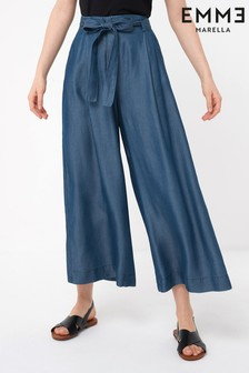 Emme by Marella Denim Blue Lightweight Cropped Wide Leg Trousers