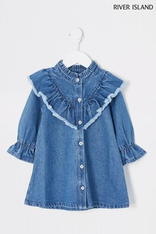River Island Blue Dark Denim V Frill Dress