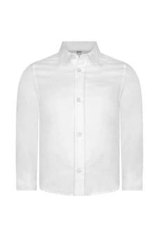 Boys White Cotton Regular Fit Shirt