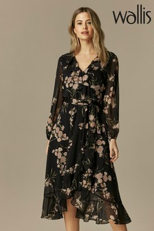 Wallis Petite Black Floral Print Midi Dress