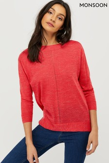 Monsoon Pink Shanie Linen Blend Jumper