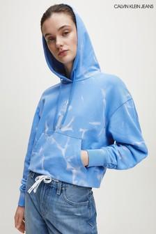 Calvin Klein Blue Lava Dye Cropped Hoody