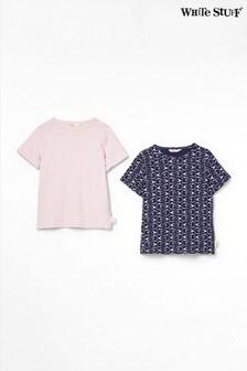 White Stuff Blue Fish Bone Jersey T-Shirts Two Pack
