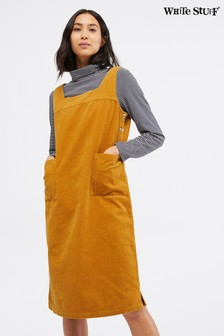 White Stuff Yellow Moonshine Cord Pinny Dress