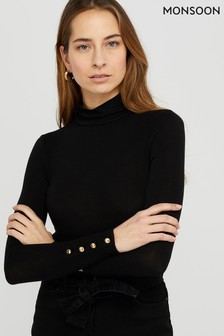 Monsoon Ladies Black Pammy Polo Neck Jersey Top