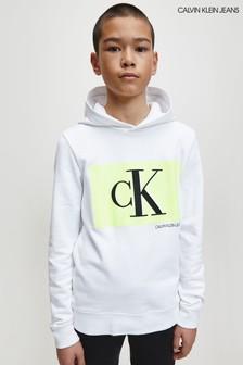 Calvin Klein White Monogram Box Hoody
