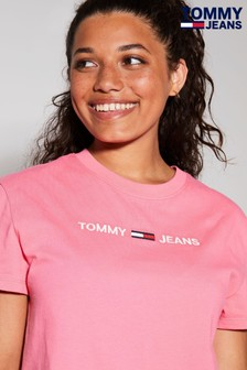 Tommy Jeans Pink Modern Linear Logo T-Shirt