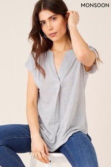 Monsoon Grey Split Linen T-Shirt