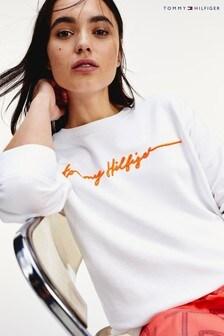 Tommy Hilfiger White Annie Relaxed Script Sweatshirt