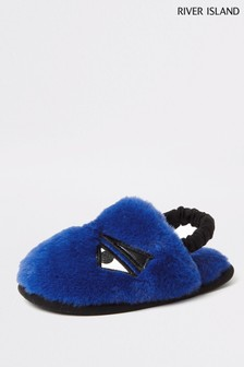 River Island Blue Monster Slippers