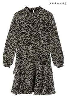 Warehouse Black Little Leaf Smock Mini Dress
