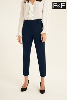 F&F Navy Cotton Viscose Trousers