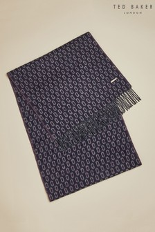 Ted Baker Blue Cashgeo Geo Jacquard Woven Scarf