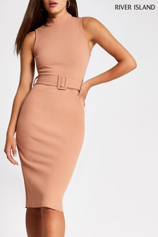 River Island Camel Uma Utlity Scuba Dress