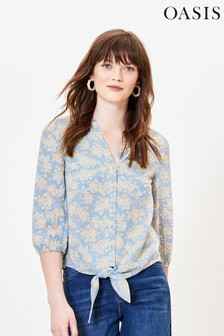 Oasis Blue Floral Tie Front Shirt