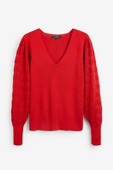V-Neck Jumper With Pointelle Sleeve