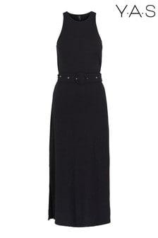 Y.A.S Black Jersey Belted Lolo Midi Dress