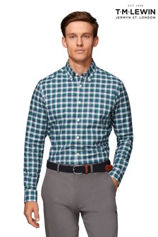 T.M. Lewin Navy/Green Bold Check Slim Fit Shirt
