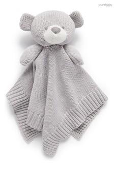 Purebaby Grey Knitted Bear Comforter