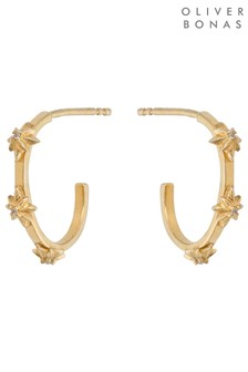 Oliver Bonas Primula Star Gold Plated Hoop Earrings