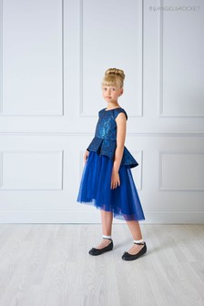 Angel & Rocket Blue Brocade Dress