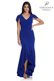 Adrianna Papell Blue Mermaid Crepe Gown
