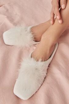 Satin Bridal Mule Slippers
