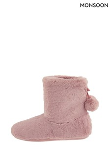 Monsoon Pink Megan Pom Boots