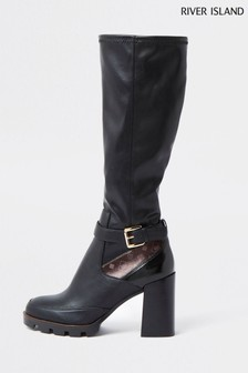 River Island Black Chunky Studded High Leg Boots