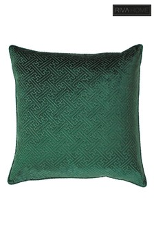 Riva Home Green Florence Embossed Geo Luxe Velvet Cushion