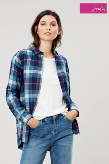 Joules Red Lorena Check Longline Woven Shirt