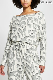 River Island Cream Hacci Animal Boat Neck Top