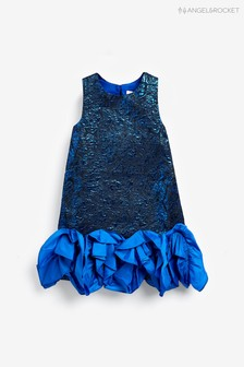 Angel & Rocket Blue Jacquard Ruffle Hem Dress