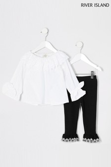 River Island White Dobby Top And Black Leggings
