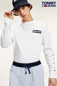 Tommy Jeans White Script Box Long Sleeve T-Shirt