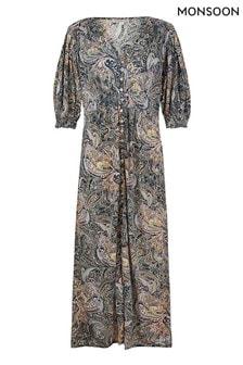 Monsoon Blue Paisley Sustainable Jersey Midi Dress