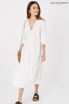 Accessorize White Crinkle Tiered Maxi Dress In Pure Cotton