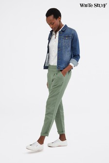 White Stuff Green Maison Linen Trousers