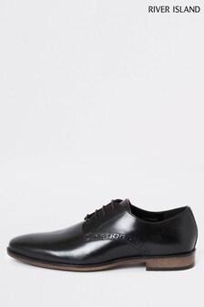 River Island Black Roger Leather Plain Derby Shoes