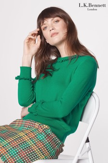 L.K.Bennett Green Hazel Wool Blend Frill Jumper