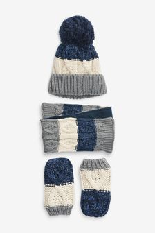3 Piece Hat, Scarf & Gloves Set (3mths-6yrs)
