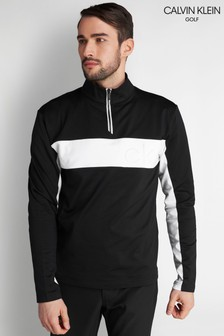 Calvin Klein Golf Black Embossed Half Zip Top