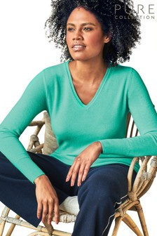 Pure Collection Blue Cashmere V-Neck Sweater