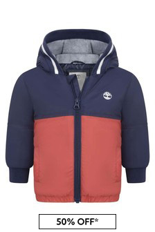 Timberland Baby Boys Blue And Red Hooded Jacket
