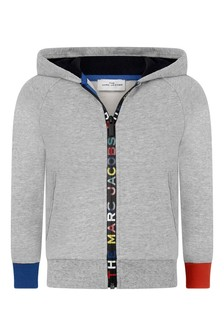 Boys Grey Cotton Logo Zip-Up Top