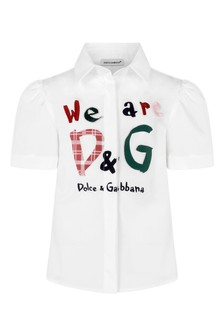Girls White Cotton Logo Shirt